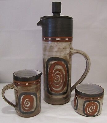 Briglin Retro Art Pottery Coffee Pot, Milk Jug & Sugar Bowl