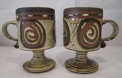 Two Briglin Retro Art Pottery Goblets