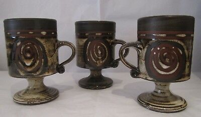 Three Briglin Retro Art Pottery Goblets