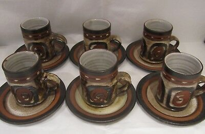 Six Briglin Retro Art Pottery Coffee Cups & Saucers