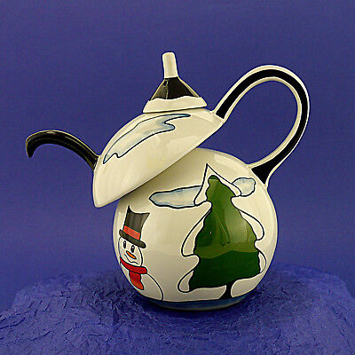 Vintage Ceramic Lorna Bailey Hand Decorated and Signed 'Snowman' Teapot
