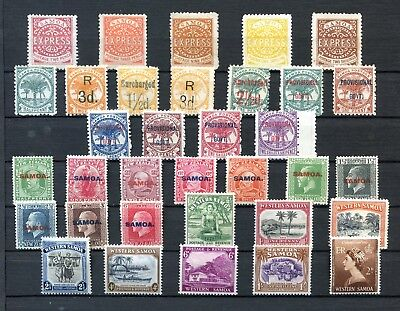 Collection of Samoa stamps.