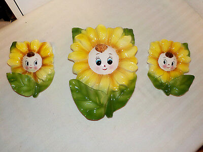 Set Of 3 Vintage Anthropomorphic Sunflower Wall Pockets Made In Japan