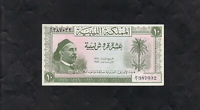 Libya Bank Note - 1952 - King Idris - 10 Piastres