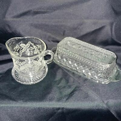 Antique Pattern Clear Glass / Crystal Creamer, Covered Butter Dish