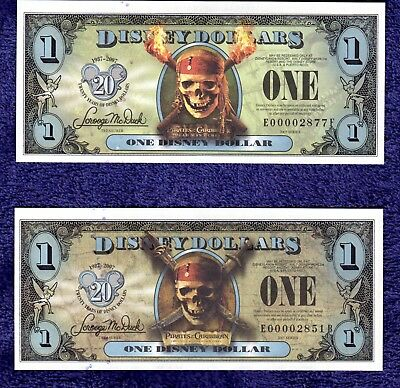 2007 Disney Dollars - Two Pirates of the Caribbean $1 bills