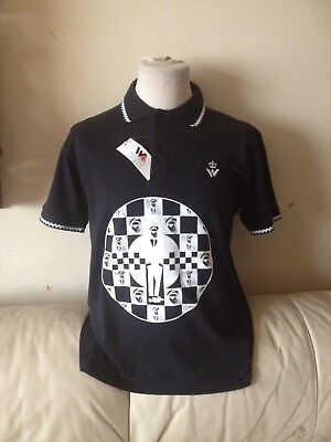 Men's 1970s/80s warrior 2 tone Mod skinhead Polo Shirt large Nwt