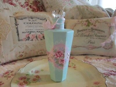 Shabby Chic Hand Painted Roses - Vintage Bottle with French Style Label
