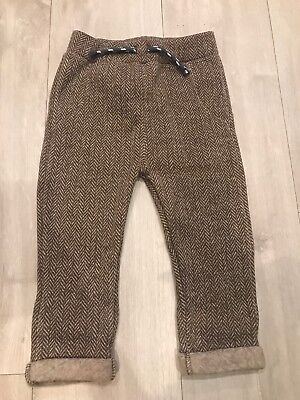 Baby Boys 18-24 Months Brown Patterned Trousers Fashion Autumn Winter