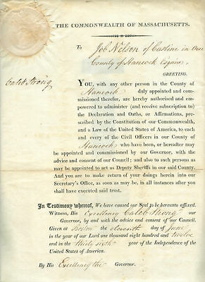 Caleb  Strong  Gov Of Mass, Signs  1812  Document - Job Nelson To Sign Documents