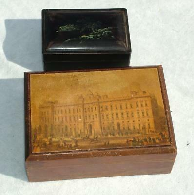 Antique Mid Victorian Mauchline Ware Buckingham Palace Box + Chinese Lacquer Box