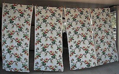 VINTAGE BARKCLOTH CURTAIN PANELS TROPICAL RED/GREEN FLORAL 76 X 35 UNLINED x4