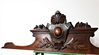 Architectural gothic victory pediment Antique french wooden salvaged furniture