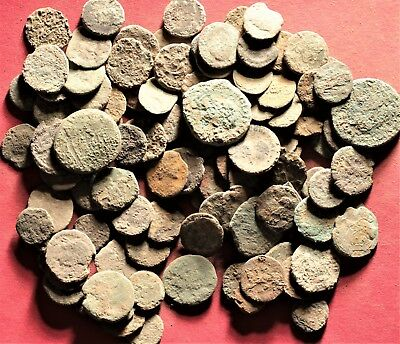Lot of 100 Ancient Roman Bronze Fragment Coins, AE3, AE4 #25
