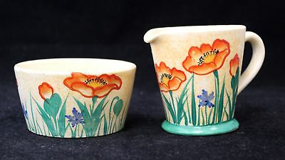 Vintage Art Deco Ceramic E RADFORD Sugar Bowl & Milk Jug - Poppy Print - W35