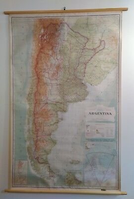 VINTAGE ROLL UP Linen School Map 1962 Argentina Great Colors ...