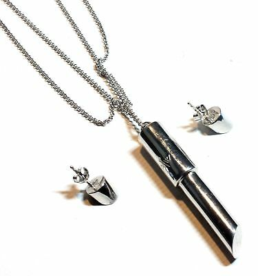 925 STLG SILVER A/W Lipstick Design Pendant Necklace & Earrings, 19.59g - N06