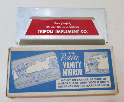 NOS 1950s TRIPOLI IMPLEMENT Visor Mirror IH International Harvester w Box IOWA