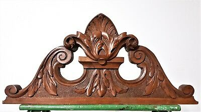Achitectural cottage scroll leaves pediment antique french wooden salvaged crest