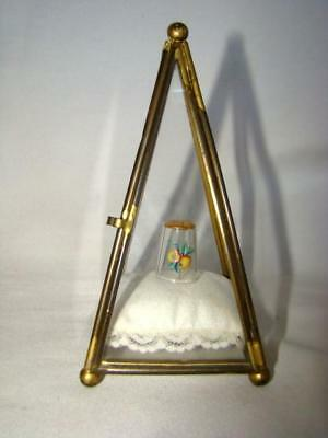 Vintage Brass Pyramid Miniature Display Case ~ Hand Painted Glass THIMBLE