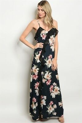 a7081c6acc Misses Black Floral Spaghetti Strap Ruffled Maxi Dress SZ Medium NWT
