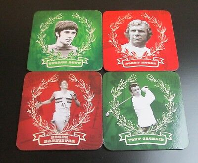 BOXED Set Of Four PAST TIMES Sporting Greats Square Heat Resistant Coasters