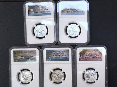 2018-S Silver First Day Of Issue ATB Park 5 Coin Set NGC PF 69 REVERSE PROOF