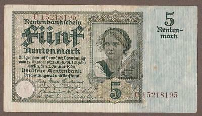1926 Germany 5 Reichsmark Note