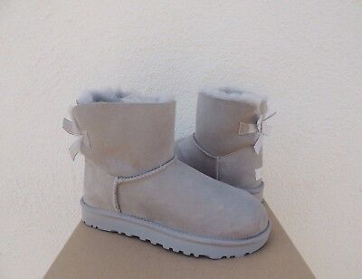 62a6ce41ab5 UGG SEAL GREY Mini Bailey Bow Stripe Suede/ Sheepskin Boots, Us 10/ Eur 41  ~Nib