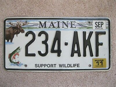 2011 Maine Moose License Plate 234-AKF - SUPPORT WILDLIFE