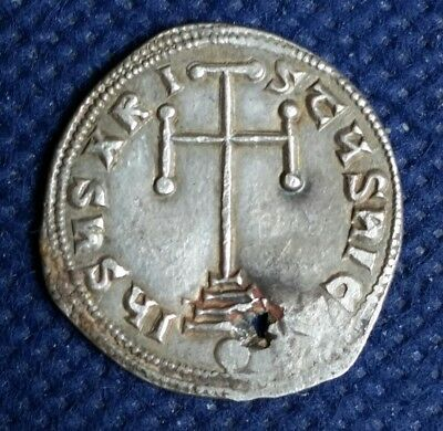 Unidentified Silver Byzantine Ancient Coin Constantine Vi ? Cross Steps Pinholed