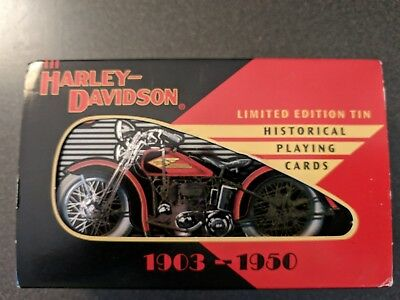 Harley Davidson Collectible Tin & Playing Cards 1903-1950-- 2 Decks