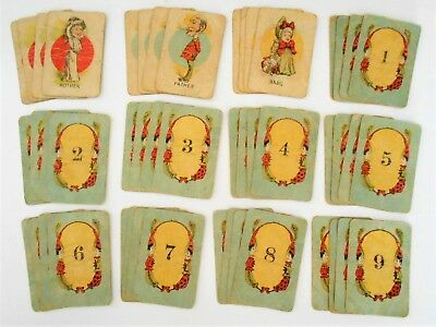 Antique Vintage Miniature Playing Cards Deck of 48 Distressed Mixed Media Art