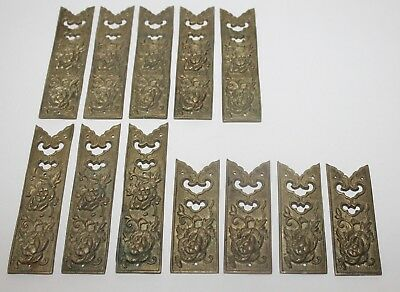 Antique lot of 12 Metal Cabinet Box Door Ornate Back Plate Repousse Flower BRASS