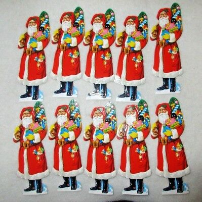 "**10** Die Cut Embossed Santa / Kris Kringle Pictures==6 1/2"" Tall=For Cookies"