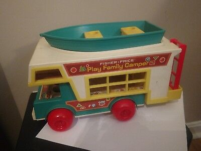 Vintage Fisher Price Play Family Camper with Boat + Wrecker