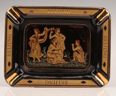 Black Porcelain Classic High-Grade Ashtray Household Gift Collection Plate