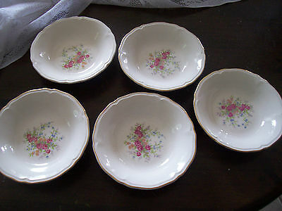 """Edwin Knowles 6 1/4"""" cereal bowls with pink roses(5)"""