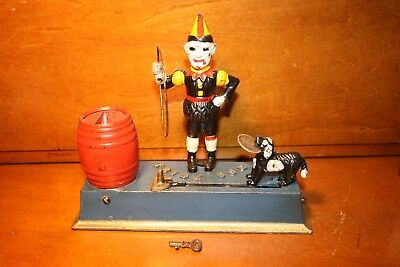 Original Painted Antique Cast Iron Trick Dog Mechanical Bank by Hubley 1920,s