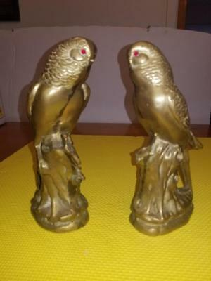 Lot Of Two Vintage Brass Parakeet Statues With Ruby Eyes