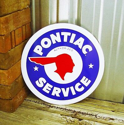 "Pontiac Service Chief Logo Garage Hot Rod Car Round 12"" Metal Tin Sign Vintage"