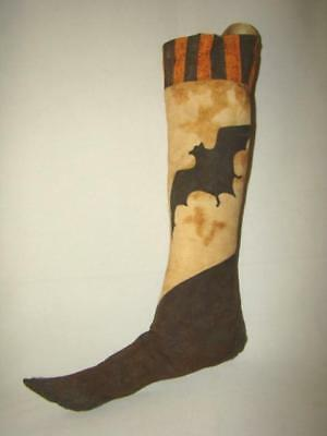 2008 Primitive HALLOWEEN Hand Made Tea Dyed Muslin FLYING BAT STOCKING