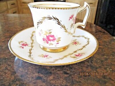 Vintage Royal Chelsea Tea cup and saucer Pink Gold Triangle England Bone China
