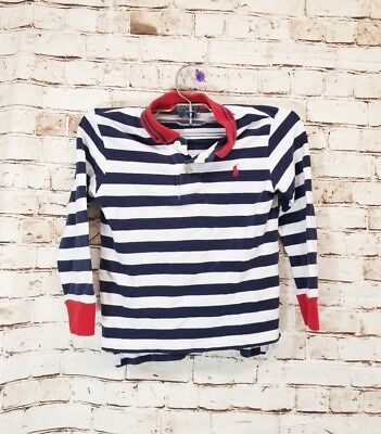 Polo Ralph Lauren Boys Kids Polo Shirt Striped Navy Blue Red Sz 4 C3