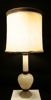 Big Italian MC Modern Art Deco Unusual Hexagon Pillar Column Ball Alabaster Lamp