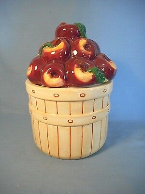 """Basket of Apples Cookie Jar by Youngs 9.5"""" Tall X 6.5"""" Diameter"""