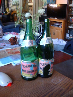 1930 Canada Dry Pale Ginger Ale Green Glass Bottles w Labels 2x Toronto Ontario