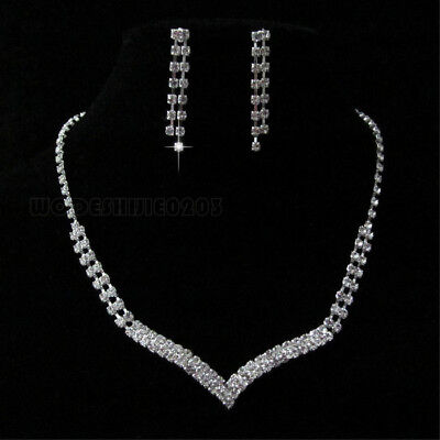 Heart-shaped Wedding Party Crystal Necklace Earring silver plated Jewelry N172
