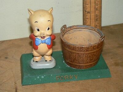 Vintage Porky Pig Pencil Holder Metal