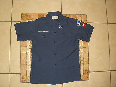 Youth Boys BSA Boy Scouts of America Short Sleeve uniform Patches Navy Shirt M